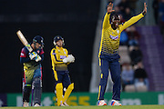 Hampshire T20 all-rounder Darren Sammy appealing during the NatWest T20 Blast South Group match between Hampshire County Cricket Club and Kent County Cricket Club at the Ageas Bowl, Southampton, United Kingdom on 2 June 2016. Photo by David Vokes.