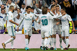 Real Madrid celebrate a goal during the La Liga Santander match between Real Madrid CF and Sevilla FC on December 09, 2017 at the Santiago Bernabeu stadium in Madrid, Spain.