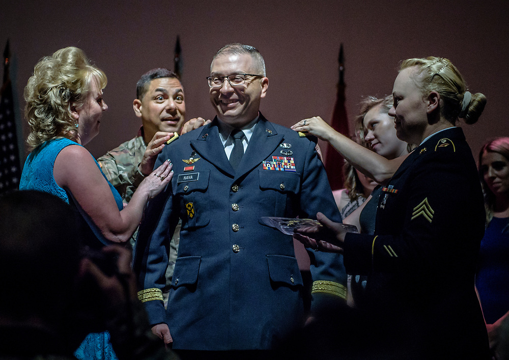rer073117b/metro/July 31, 2017/Albuquerque Journal<br /> Governor Susana Martinez Promoted NM National Guard Adjutant General Kenneth Nava to Major General in a ceremony Monday morning at the National Hispanic Cultural Center.  Pictured is General Nava getting his new insignias from family members and friends. <br /> Albuquerque, New Mexico Roberto E. Rosales/Albuquerque Journal
