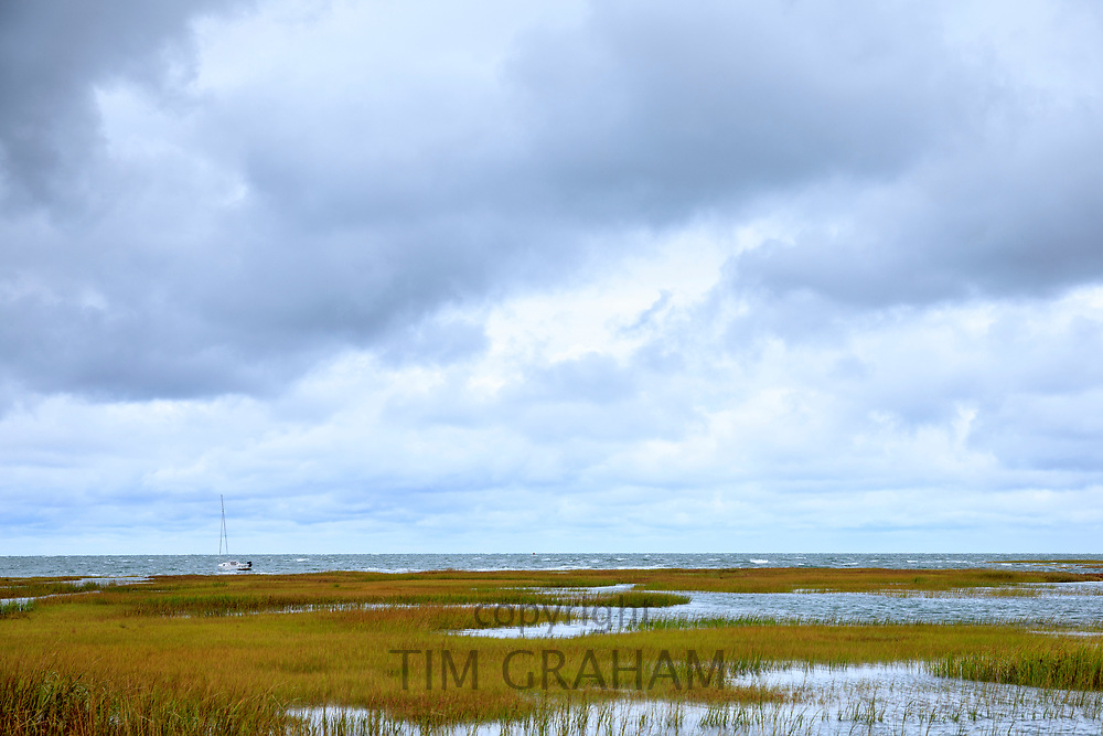 Yacht and salt marsh by Atlantic Ocean on Cape Cod, New England, USA