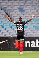 SYDNEY, NSW - JANUARY 18: Western Sydney Wanderers midfielder Roly Bonevacia (28) celebrates his goal at the Hyundai A-League Round 14 soccer match between Western Sydney Wanderers and Adelaide United at ANZ Stadium in NSW, Australia 18 January 2019. Image by (Speed Media/Icon Sportswire)