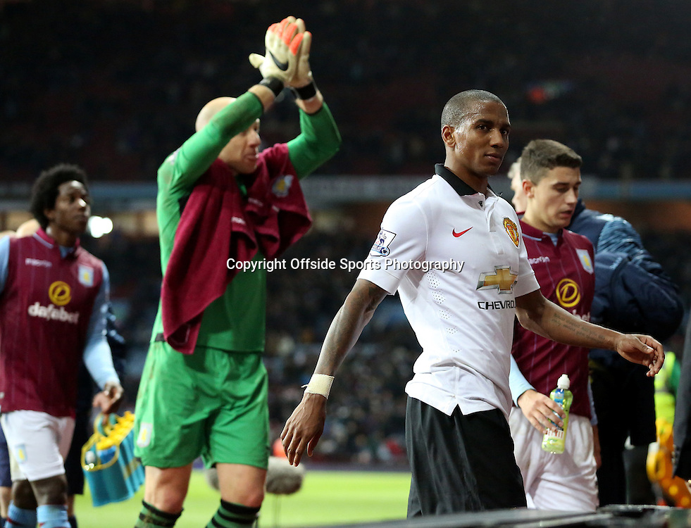 20th December 2014 - Barclays Premier League - Aston Villa v Manchester United - Ashley Young of Manchester United casts fans a look as he is abused whilst coming off the pitch - Photo: Paul Roberts / Offside.