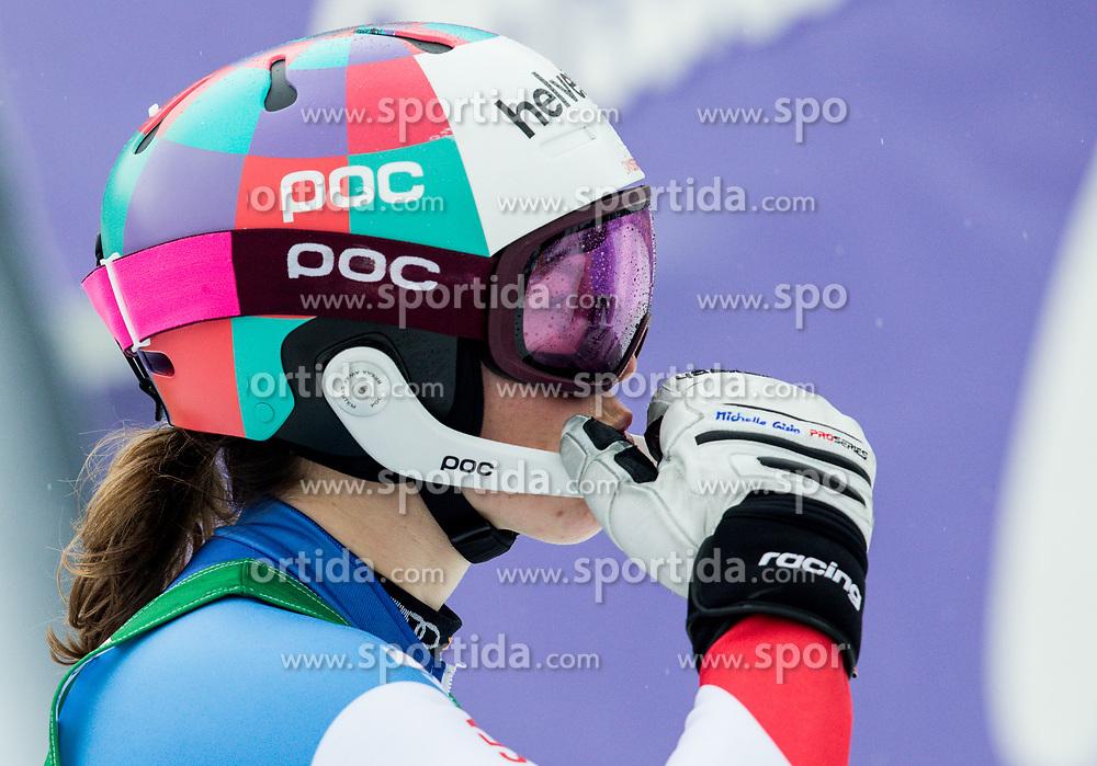 "Michelle Gisin (SUI) reacts during 2nd Run of the FIS Alpine Ski World Cup 2017/18 7th Ladies' Slalom race named ""Golden Fox 2018"", on January 7, 2018 in Podkoren, Kranjska Gora, Slovenia. Photo by Ziga Zupan / Sportida"