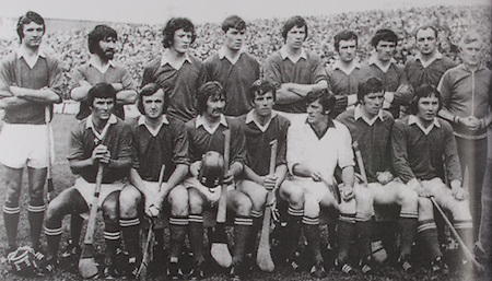 Cork-All-Ireland Hurling Champions 1976. Back Row: J Barry Murphy, M Malone, J Crowley, P Barry, M O'Doherty, P Moylan, B Murphy, D Coughlan, Fr Troy. Front Row: C McCarthy, B Cummins, G McCarthy, R Cummins (capt), M Coleman, P McDonnell, S O'Leary.