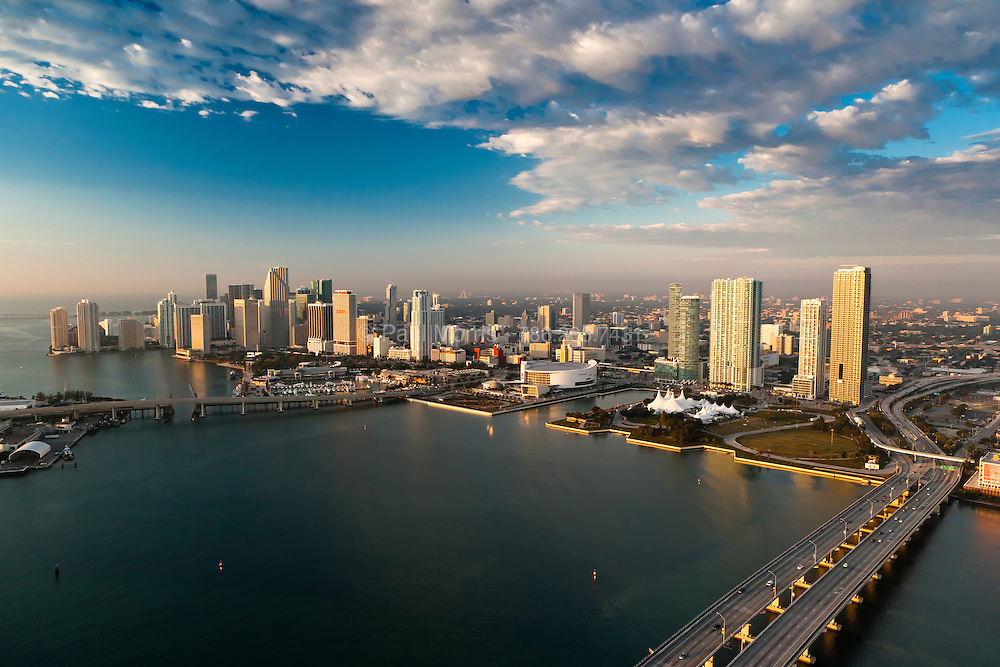 Aerial View of Downtown Miami Skyline in early morning showing Bayside and Bayfront Park and the downtown business district.