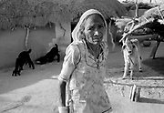 Old lady with goats in small village