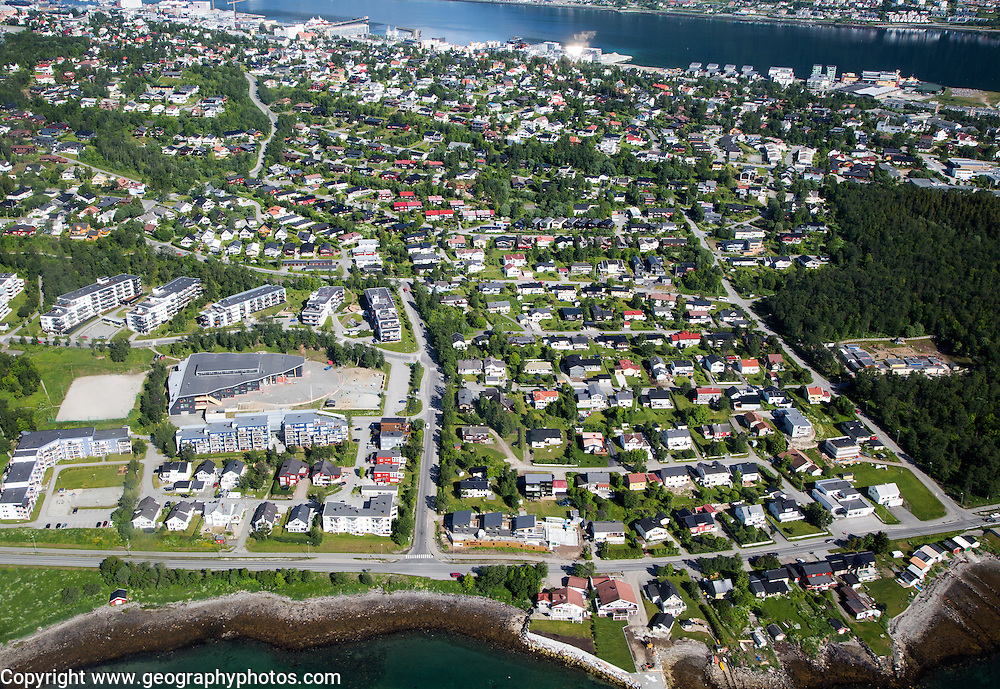 Aerial view of Tromso city and suburban housing, Norway