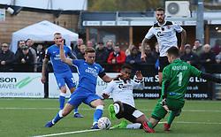 Matt Godden of Peterborough United in action with Richard Brindley of Bromley - Mandatory by-line: Joe Dent/JMP - 10/11/2018 - FOOTBALL - Hayes Lane - Bromley, England - Bromley v Peterborough United - Emirates FA Cup first round proper