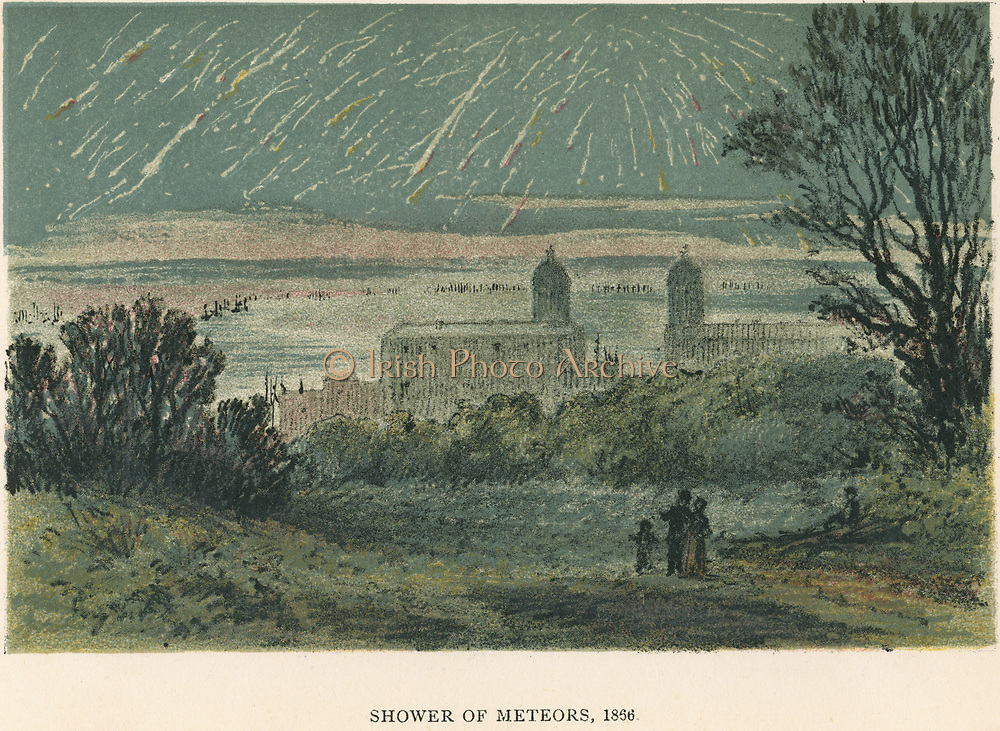 Shower of meteors (Leonids) observed over Greenwich, London 1866.  The Leonids are visible in the night sky during November. From 'Sun, Moon and Stars' by Agnes Giberne. (London, 1884). Chromolithograph.