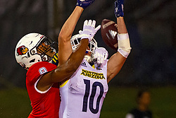 NORMAL, IL - September 21: Charles Woods deflects an attempted TD pass to Hendrix Johnson during a college football game between the ISU (Illinois State University) Redbirds and the Northern Arizona University (NAU) Lumberjacks on September 21 2019 at Hancock Stadium in Normal, IL. (Photo by Alan Look)