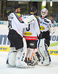 09.10.2015, Keine Sorgen Eisarena, Linz, AUT, EBEL, EHC Liwest Black Wings Linz vs Dornbirner Eishockey Club, 9. Runde, im Bild Florian Hardy (Dornbirner Eishockey Club) feiert den Sieg in Linz // during the Erste Bank Icehockey League 9th round match between EHC Liwest Black Wings Linz and Dornbirner Eishockey Club at the Keine Sorgen Icearena, Linz, Austria on 2015/10/09. EXPA Pictures © 2015, PhotoCredit: EXPA/ Reinhard Eisenbauer