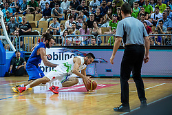 Mitja Nikolic of Slovenia vs Luigi Datome of Italy during friendly basketball match between National teams of Slovenia and Italy at day 3 of Adecco Cup 2015, on August 23 in Koper, Slovenia. Photo by Grega Valancic / Sportida