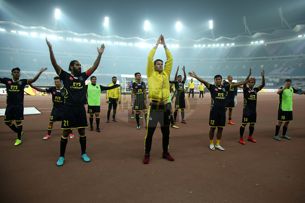 Kerala Blasters FC celebrate win during match 43 of the Hero Indian Super League between Delhi Dynamos FC and Kerala Blasters FC  held at the Jawaharlal Nehru Stadium, Delhi, India on the 10th January 2018<br /> <br /> Photo by: Deepak Malik  / ISL / SPORTZPICS