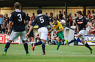 Picture by David Horn/Focus Images Ltd +44 7545 970036<br /> 16/07/2013<br /> Ryan Charles of Hitchin Town gets a shot away during the Pre Season Friendly match at Top Field, Hitchin.