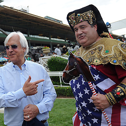 Trainer Bob Baffert, left, with Mike Porter after American Pharoah made his first public debut at Santa Anita since becoming the first racehorse to win the Triple Crown after winning the Kentucky Derby, Preakness and Belmont Stakes at Santa Anita Park in Arcadia, Calif., on Saturday, June 27, 2015.<br /> (Photo by Keith Birmingham/ Pasadena Star-News)
