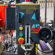 A milling machine in the shop of Cielo Bicycles.