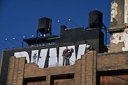 New York. times square. demolition works on 42nd street in times square area under renovation/ demolition des anciens immeubles avant la grande renovation de times square