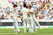 Wicket - Sam Curran of England celebrates taking the wicket of KL Rahul of India during second day of the Specsavers International Test Match 2018 match between England and India at Edgbaston, Birmingham, United Kingdom on 2 August 2018. Picture by Graham Hunt.