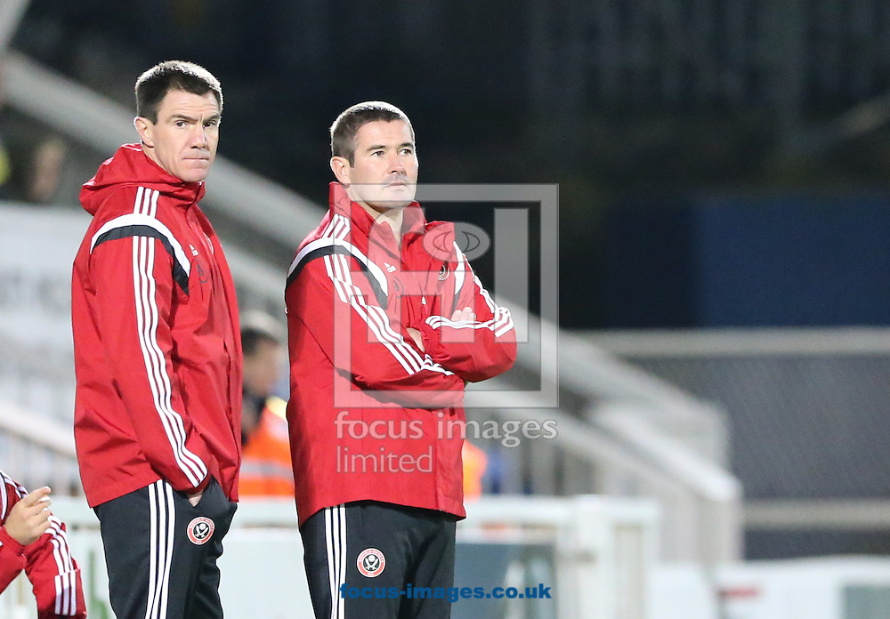 Sheffield United manager Nigel Clough (r) during the Johnstone's Paint Trophy match at Victoria Park, Hartlepool<br /> Picture by Simon Moore/Focus Images Ltd 07807 671782<br /> 07/10/2014