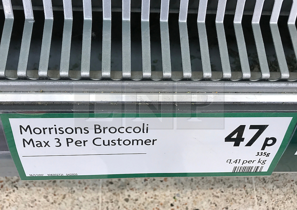 © Licensed to London News Pictures. 3/02/2017. Brighton, UK. A sign shows customers are restricted to three packets of broccoli only in a Morrisons supermarket.  UK supermarkets are struggling with demand for lettuce and other vegetables after poor weather hampered the supply from Europe . Photo credit: Hugo Michiels/LNP