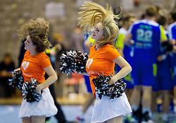 Cheerleaders Zvezdice perform during handball match between National teams of Slovenia and Switzerland in 1st Round of 2015 Men's World Championship Qualifications of Group 3 on October 30, 2013 in Rdeca dvorana, Velenje, Slovenia. (Photo by Vid Ponikvar / Sportida)