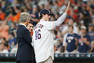 Jun 22, 2016; Houston, TX, USA; Newly acquire Houston Astros Foster Whitley (16) waves to the fans between innings while playing against the Los Angeles Angels  at Minute Maid Park. Mandatory Credit: Thomas B. Shea-USA TODAY Sports