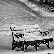 This bench is at the Loyola Jesuit Center inMorristown, NJ.  I was shooting at first light and was taken by the shapes, colors and textures of this scene. The black and white presentation retains much of the detail while bringing out a very winter feel.