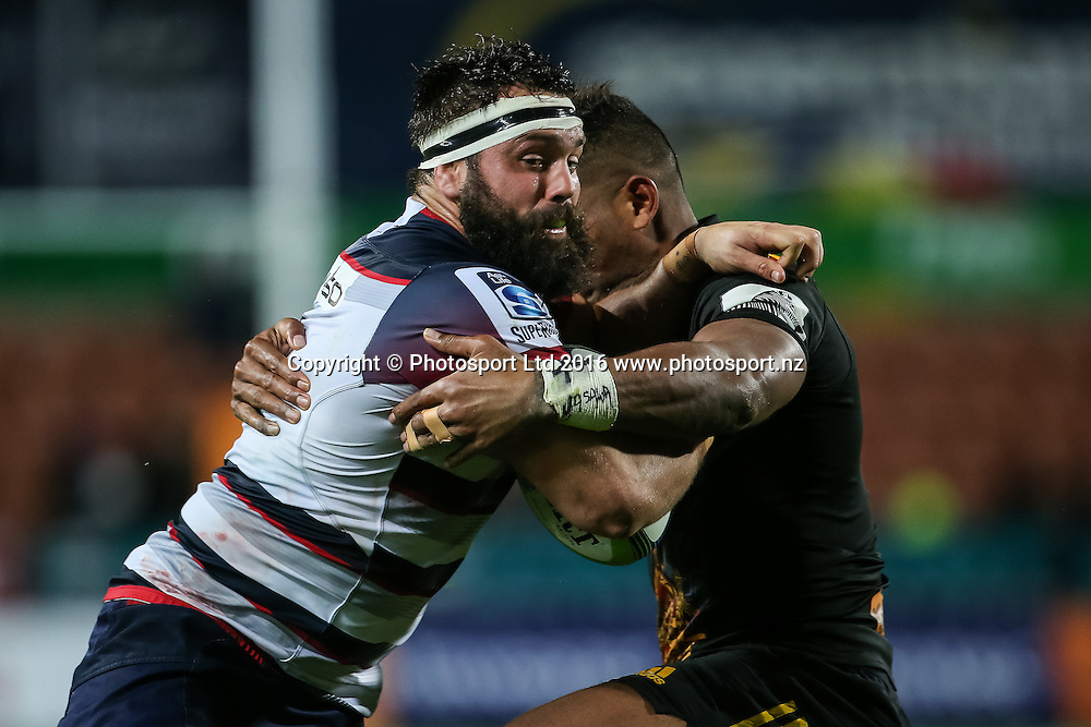 Rebels hooker James Hanson in action during the Super Rugby match - Chiefs v Rebels played at FMG Stadium Waikato, Hamilton, New Zealand on Saturday 21 May 2016. <br /> <br /> Copyright Photo: Bruce Lim / www.photosport.nz