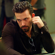 Actor Ben Afflect plays poker in the World Poker Tour event at the Bicycle Club in Los Angeles.