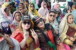 April 30, 2017 - Hyderabad, Sindh, Pakistan - PPP women shows victory sign during the protest against load shading at Hyder chowk in Hyderabad (Credit Image: © Janali Laghari/Pacific Press via ZUMA Wire)