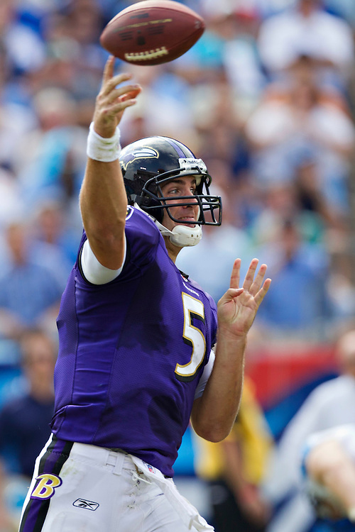 NASHVILLE, TN - SEPTEMBER 18:   Joe Flacco #5 of the Baltimore Ravens throws a pass against the Tennessee Titans at the LP Field on September 18, 2011 in Nashville, Tennessee.  The Titans defeated the Ravens 26 to 13.   (Photo by Wesley Hitt/Getty Images) *** Local Caption *** Joe Flacco