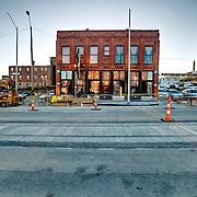 Anton's Taproom and Kansas City Streetcar construction progress
