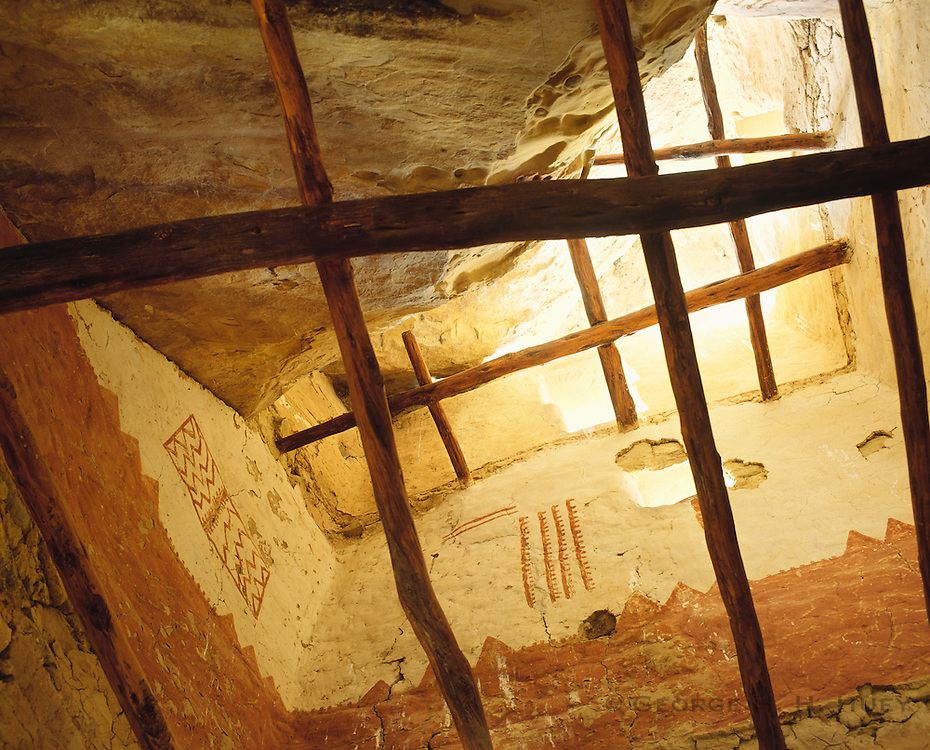 0405-1001 ~ Copyright: George H. H. Huey ~ Pictographs, painted wall decorations inside tower of Cliff Palace ruin. Occupied A.D. 1075-1300. Anasazi culture, Mesa Verde National Park, Colorado.