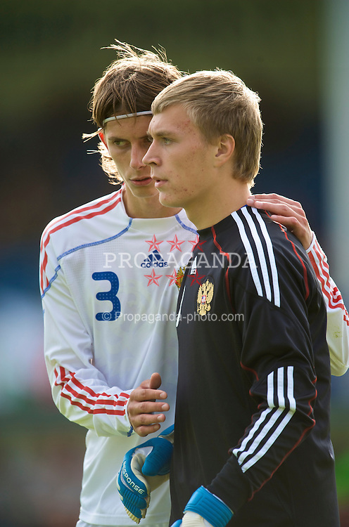 HAVERFORDWEST, WALES - Saturday, October 3, 2009: Russia's goalkeeper Alexey Skornyakov and Ilya Kutepov during the UEFA Under-17 Championship Qualifying Round Group 12 match against Wales at Bridge Meadow Stadium. (Pic by David Rawcliffe/Propaganda)