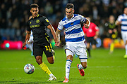 Queens Park Rangers defender Grant Hall (4) on the ball during the EFL Sky Bet Championship match between Queens Park Rangers and Brentford at the Kiyan Prince Foundation Stadium, London, England on 28 October 2019.