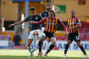 Shaun McWilliams of Northampton Town and Bradford City's Dylan Connolly(19) contest a loose ball  during the EFL Sky Bet League 2 match between Bradford City and Northampton Town at the Utilita Energy Stadium, Bradford, England on 7 September 2019.