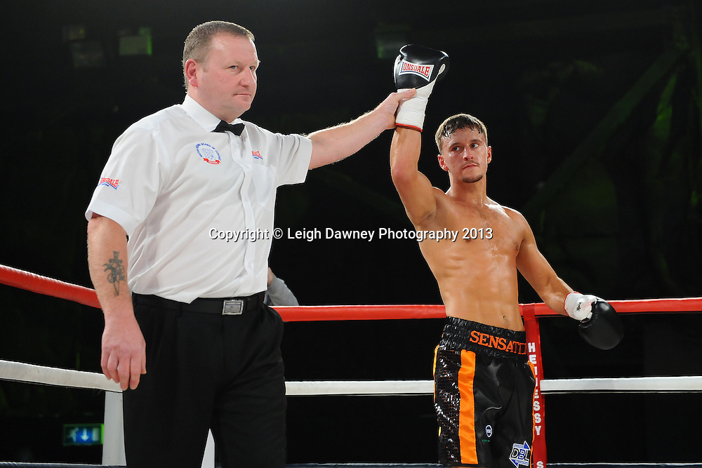 Sam O'Maison defeats Martin Shaw after the referee stopped Saturday 14th September 2013 at the Magna Centre, Rotherham. Hennessy Sports. Self billing applies. © Credit: Leigh Dawney Photography.