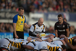 October 9, 2016 - Barnet, England, United Kingdom - Joe Simpson of Wasps RFC puts ball in during the Aviva Premiership match between Saracens and Wasps at the Allianz Park, London, England on 9th October 2016.    in Barnet, England. (Credit Image: © Kieran Galvin/NurPhoto via ZUMA Press)