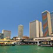 Circular Quay ferry terminal and city skyline in Sydney, Australia
