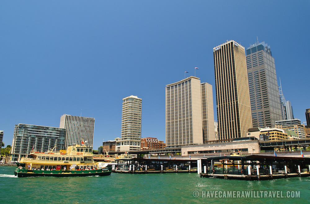 Circular Quay ferry terminal and city skyline in Sydney, Australia