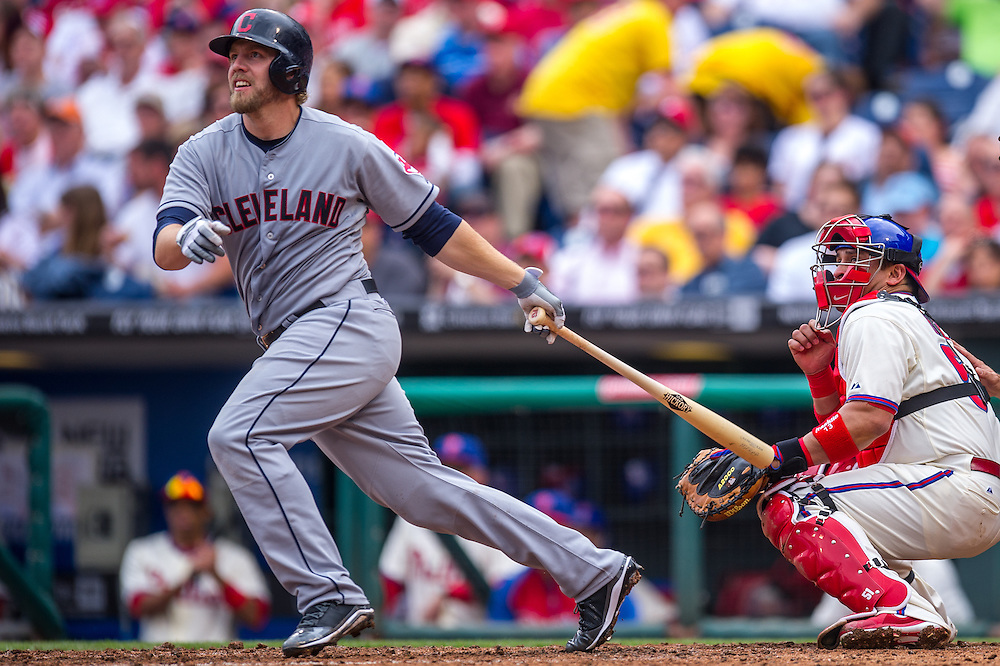 PHILADELPHIA, PA - MAY 15: Mark Reynolds #12 of the Cleveland Indians bats during the game against the Philadelphia Phillies at Citizens Bank Park on May 15, 2013 in Philadelphia, Pennsylvania. (Photo by Rob Tringali) *** Local Caption *** Mark Reynolds