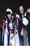 "Koning Willem Alexander wordt door Hare Majesteit Koningin Elizabeth II geïnstalleerd in de 'Most Noble Order of the Garter'. Tijdens een jaarlijkse ceremonie in St. Georgekapel, Windsor Castle, wordt hij geïnstalleerd als 'Supernumerary Knight of the Garter'.<br /> <br /> King Willem Alexander is installed by Her Majesty Queen Elizabeth II in the ""Most Noble Order of the Garter"". During an annual ceremony in St. George's Chapel, Windsor Castle, he is installed as ""Supernumerary Knight of the Garter"".<br /> <br /> Op de foto / On the photo:  Princess Alexandra, The Honorable Lady Ogilvy and HRH The Duke of Kent"