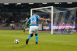 October 21, 2017 - Napoli, Napoli, Italy - Naples - Italy 21/10/2017.ELSEID HYSAJ of  S.S.C. NAPOLI   and SAMIR HANDANOVIC  of  Inter  fights for the ball during Serie A  match between S.S.C. NAPOLI and Inter  at Stadio San Paolo of Naples. (Credit Image: © Emanuele Sessa/Pacific Press via ZUMA Wire)