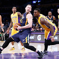 05 December 2016: Utah Jazz forward Gordon Hayward (20) goes for the spin move around Los Angeles Lakers forward Thomas Robinson (15) during the Utah Jazz 107-101 victory over the Los Angeles Lakers, at the Staples Center, Los Angeles, California, USA.