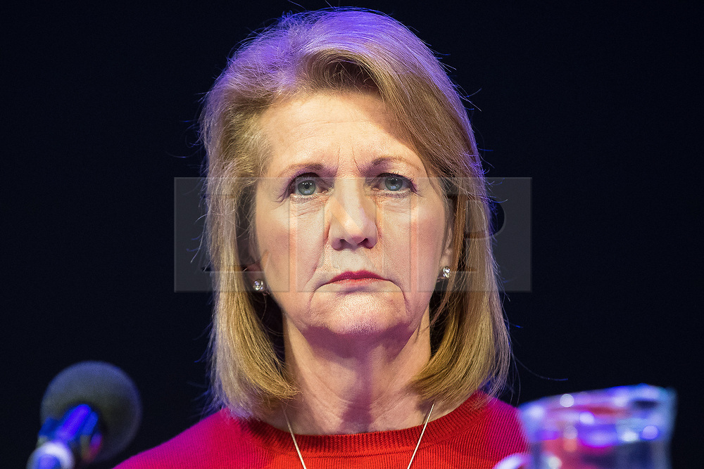 © Licensed to London News Pictures. 27/03/2018. Salford, UK. Deputy Mayor of Greater Manchester , BEV HUGHES . The Kerslake Report in to the terrorist bombing of an Ariana Grande concert at the Manchester Arena on 22nd May 2017 , ordered by Greater Manchester Metro Mayor Andy Burnham , is published at a press conference at the University of Salford , at Media City . Amongst praise for many connected with the events, the report also highlights failings in communication at Greater Manchester Fire and Rescue on the night and disreputable behaviour by some sections of the media in the aftermath of the attack . Photo credit: Joel Goodman/LNP