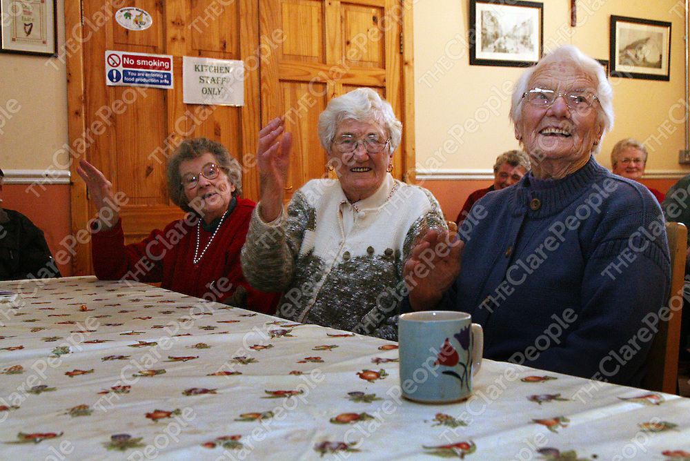 Mary Hurley 90, Mary Murrihy 90 and Bridie Carey 91 enjoying the craic at the resource centre in Miltown Malbay on Friday.<br />