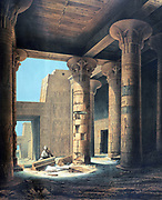 Interior of the Temple at Philae'. Lithograph after Karl Richard Lepsius (1810-1884) Prussian Egyptologist.  Columns in the Temple of Isis, principal goddess of ancient Egypt, sister and wife of Osiris.  Archaeology Religion Mythology Ancient Egyptian