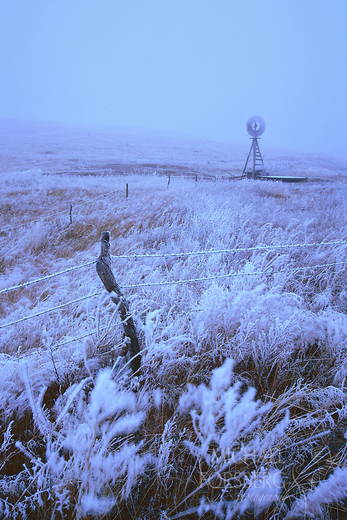 Nebraska Sandhills.  Winter winds and an icy fog dust a windmill landscape with hoarfrost on an early December morning. Strong winds, ice and snow blanket much of the plains throughout the winter season.