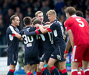 Dundee&rsquo;s Kevin Holt is congratulated after scoring the opening goal - Dundee v Aberdeen in the Ladbrokes Scottish Premiership at Dens Park, Dundee. Photo: David Young<br /> <br />  - &copy; David Young - www.davidyoungphoto.co.uk - email: davidyoungphoto@gmail.com