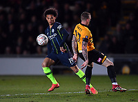 Football - 2018 / 2019 Emirates FA Cup - Fifth Round: Newport County vs. Manchester City<br /> <br /> Manchester City's Leroy Sane holds off the challenge from Newport County's Scot Bennett, at Rodney Parade.<br /> <br /> COLORSPORT/ASHLEY WESTERN